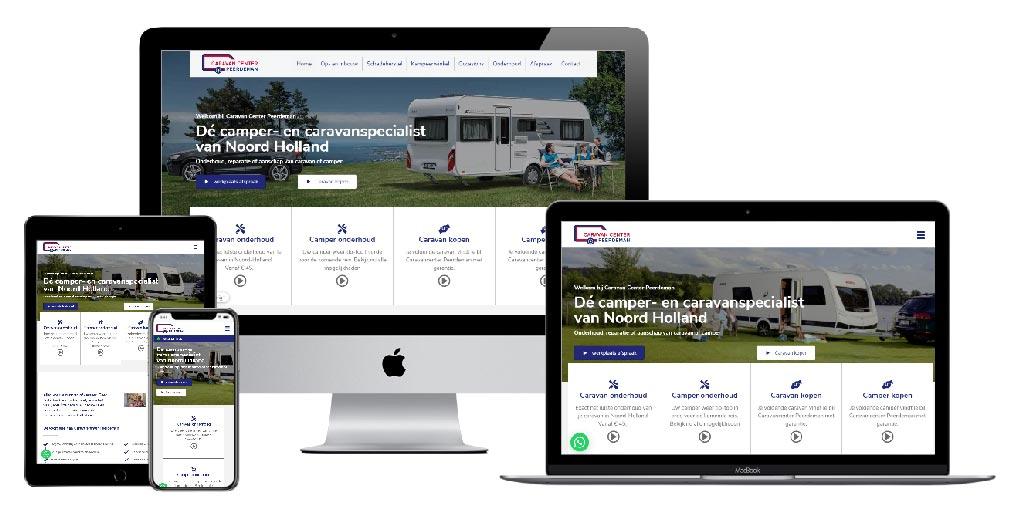 Website voorbeelden van caravancentrum Peerdeman op verschillende apparaten